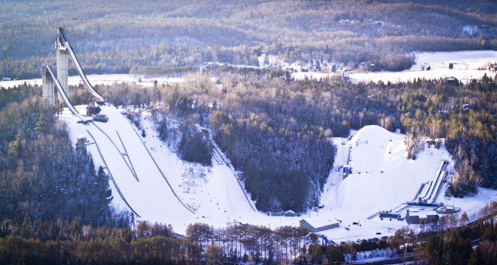 {Aerial view of the ski jump area. To get perspective, look at the barn in the lower section of the photo.}