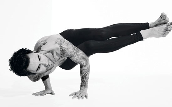 {Adam Levine, half naked, doing yoga.}