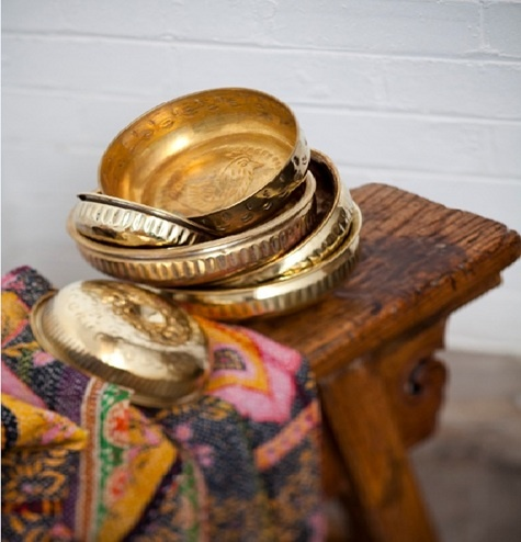 {Example of the authentic brass bowls used in a Turkish bath.}