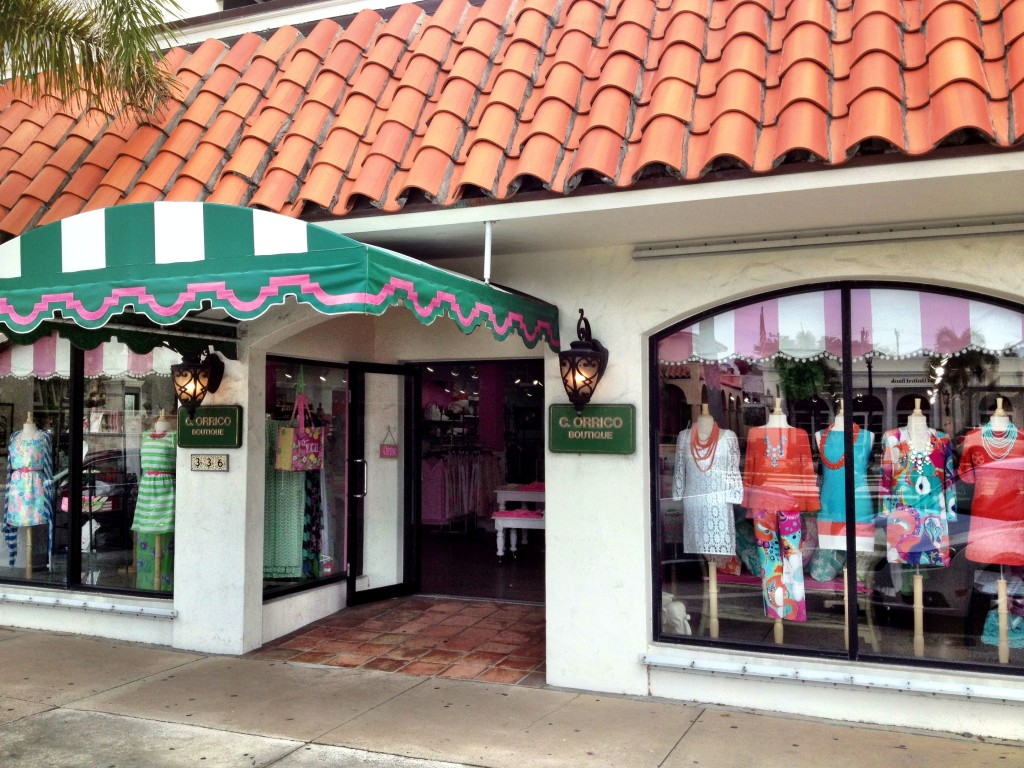 {The famous pink and green awning.}